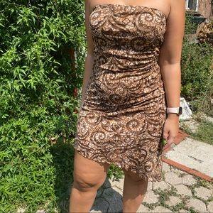 Y2K vintage brown strapless dress